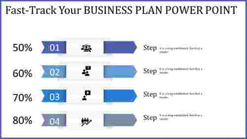 business plan power point - four bended arrows