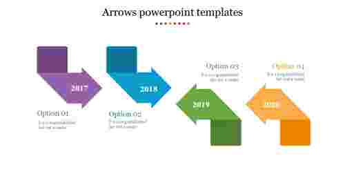 arrows power point templates - four folded arrows