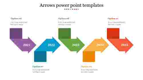 Five phases of arrows PowerPoint template