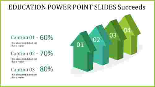 education power point slides - four vertical arrows