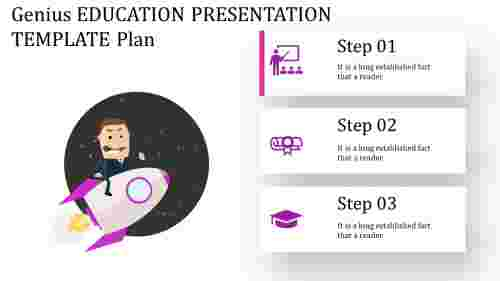 education presentation template with rocket growth