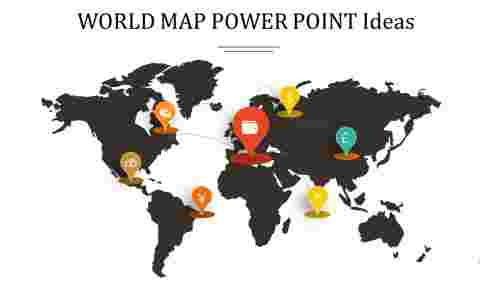 Dark background world map power point