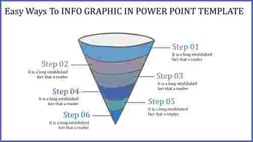 funnel info graphic in power point template-perpendicular view