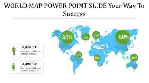 world map power point slide - growth analysis