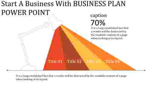Business plan power point with light lamp diagram