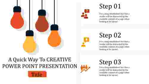 creative power point presentation with hanging bulbs