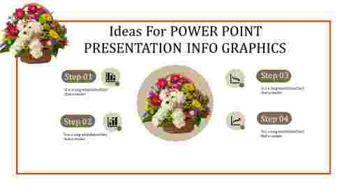 power point presentation info graphics with flower bouquet