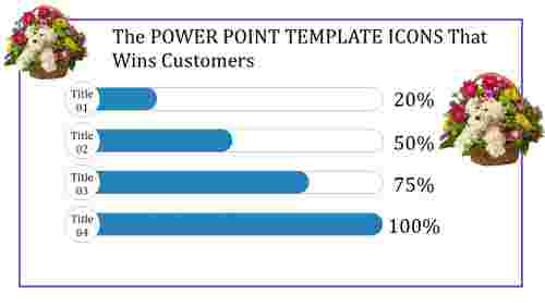 power point template icons with images and percentages
