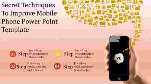 A four noded mobile phone power point template