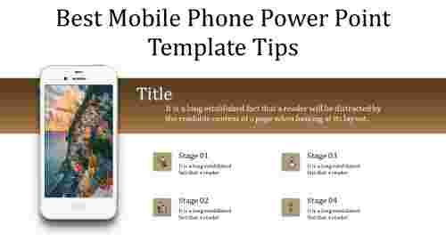 A five noded mobile phone power point template