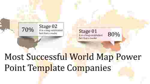 A two noded world map power point template