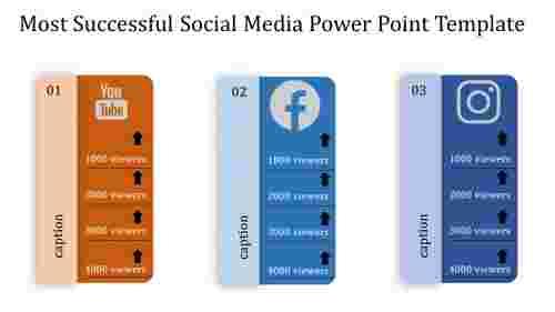 Horizontal Social media power point template