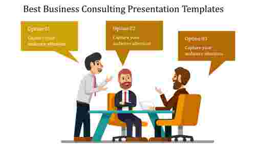 Three man business consulting presentation template