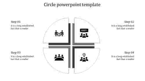 A four noded circle powerpoint template