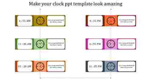 A six noded clock PPT template