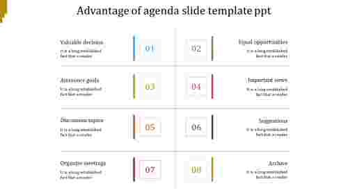 A eight noded agenda slide template PPT