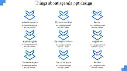 A nine noded agenda PPT design