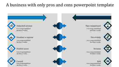 pros and cons powerpoint template-blue