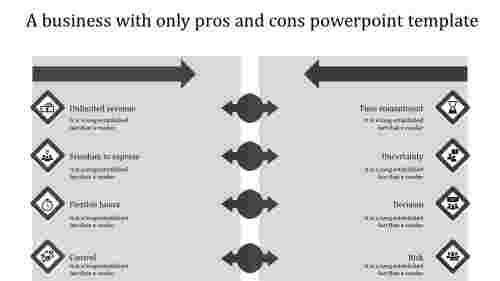 pros and cons powerpoint template-gray