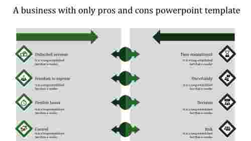 pros and cons powerpoint template-green