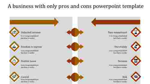 pros and cons powerpoint template-orange