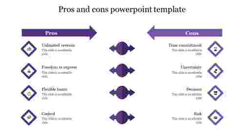 pros and cons powerpoint template-purple