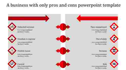 pros and cons powerpoint template-red
