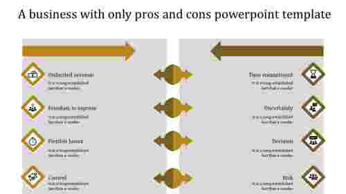 pros and cons powerpoint template-yellow