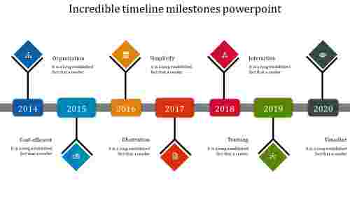 timeline milestones powerpoint - Bright colored