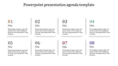 A eight noded powerpoint presentation agenda template