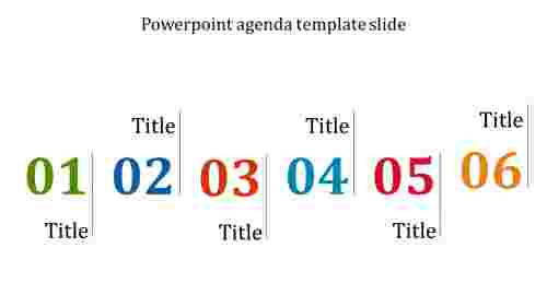 A six noded powerpoint agenda template slide