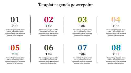 A eight noded template agenda powerpoint