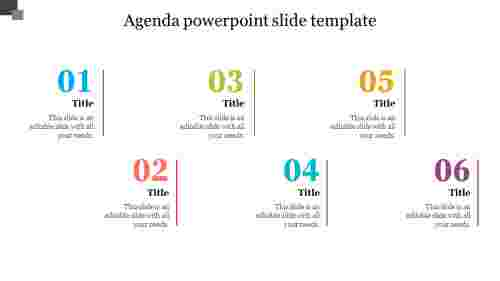 A six noded agenda powerpoint slide template