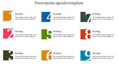 A nine noded powerpoint agenda template