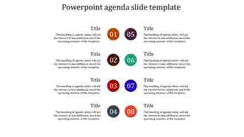 A eight noded powerpoint agenda slide template