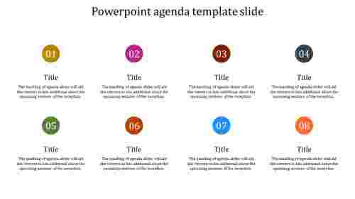 A eight noded powerpoint agenda template slide