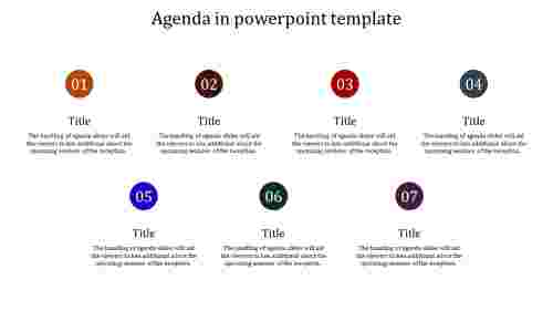 A seven noded agenda in powerpoint template