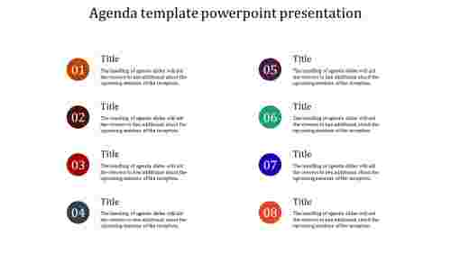 A eight noded agenda template powerpoint presentation