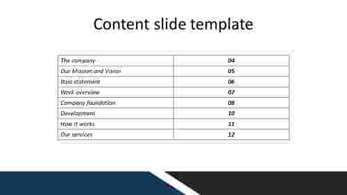 A zero noded content slide template