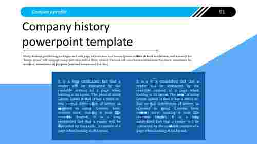 A three noded company history powerpoint template