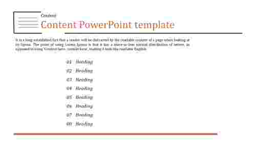 A one noded content powerpoint template