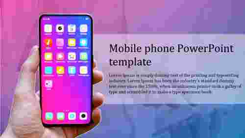 mobile phone powerpoint template simple model
