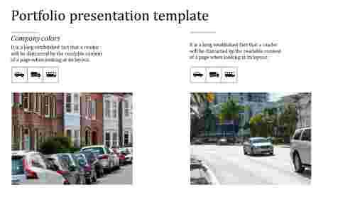 portfolio presentation template with car images