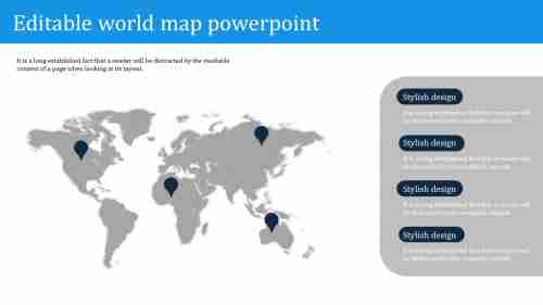 Simple editable world map powerpoint