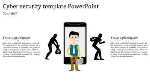 cyber security template powerpoint with mobile