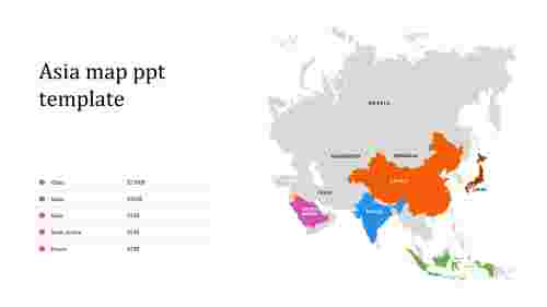 Best Asia map PPT template