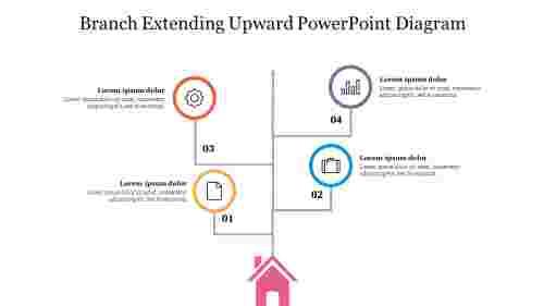 Four%20Node%20Branch%20Extending%20Upward%20PowerPoint%20Diagram