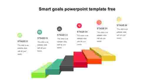 Smart goals PowerPoint template free - 3D Steps
