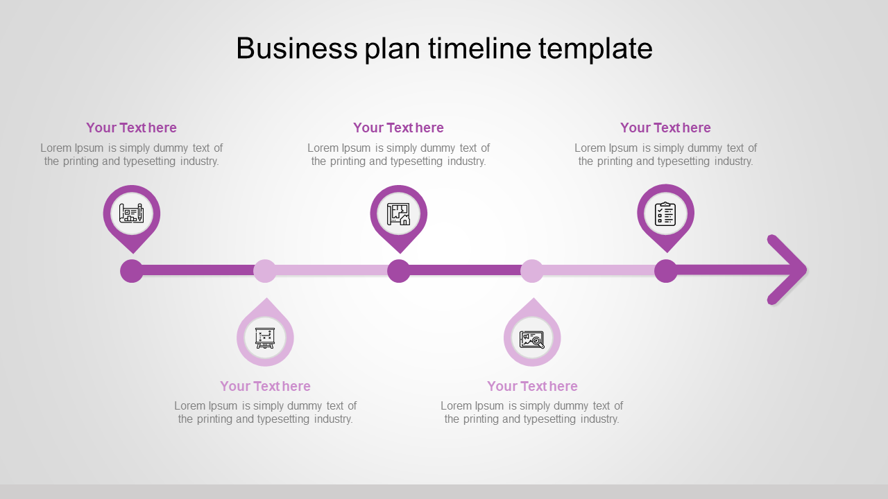 Business Plan Timeline In Teardrop Model