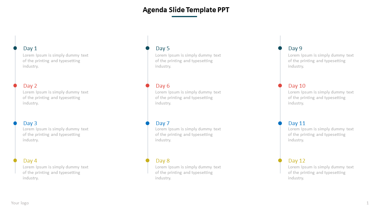 Progress Agenda Slide Template Powerpoint